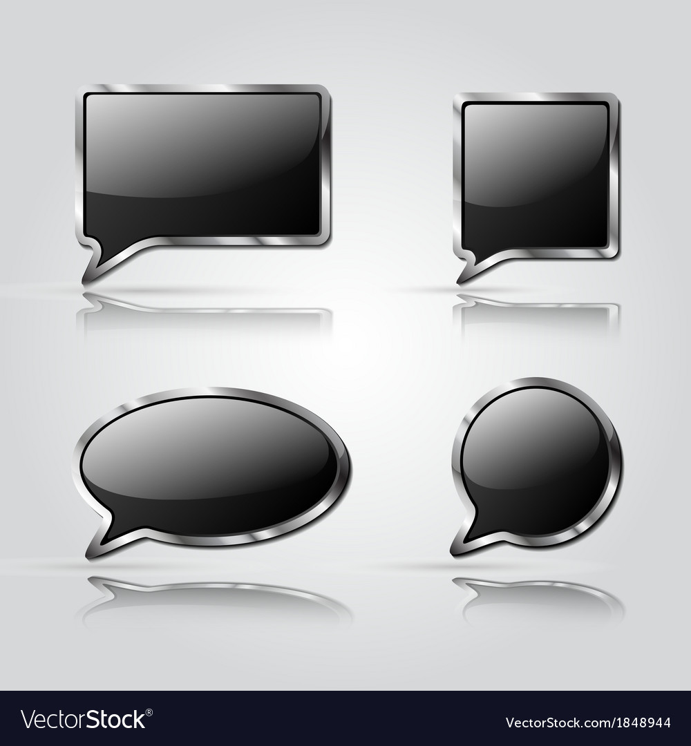 Set of black speech bubbles vector | Price: 1 Credit (USD $1)