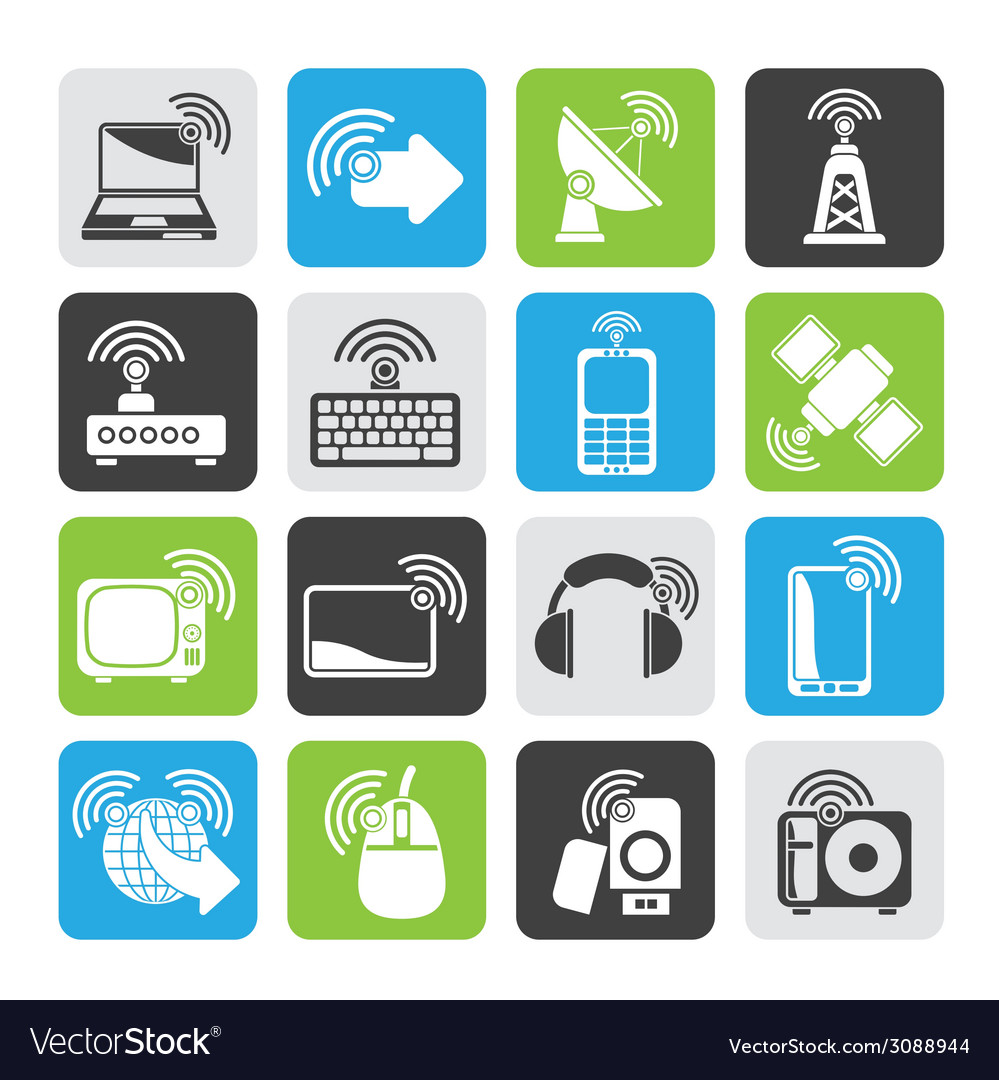 Silhouette wireless and technology icons vector   Price: 1 Credit (USD $1)