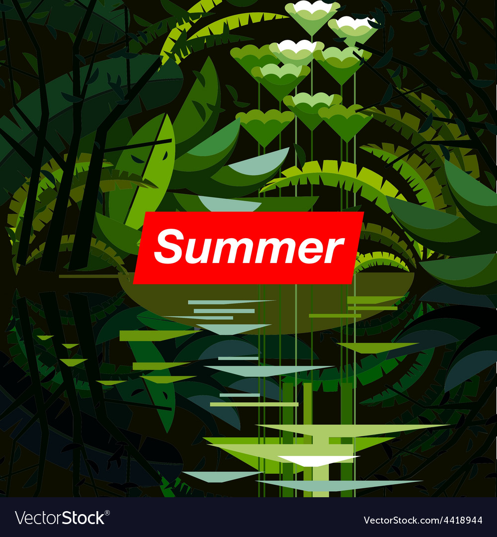 Summer tropical forest seasonal background vector | Price: 3 Credit (USD $3)