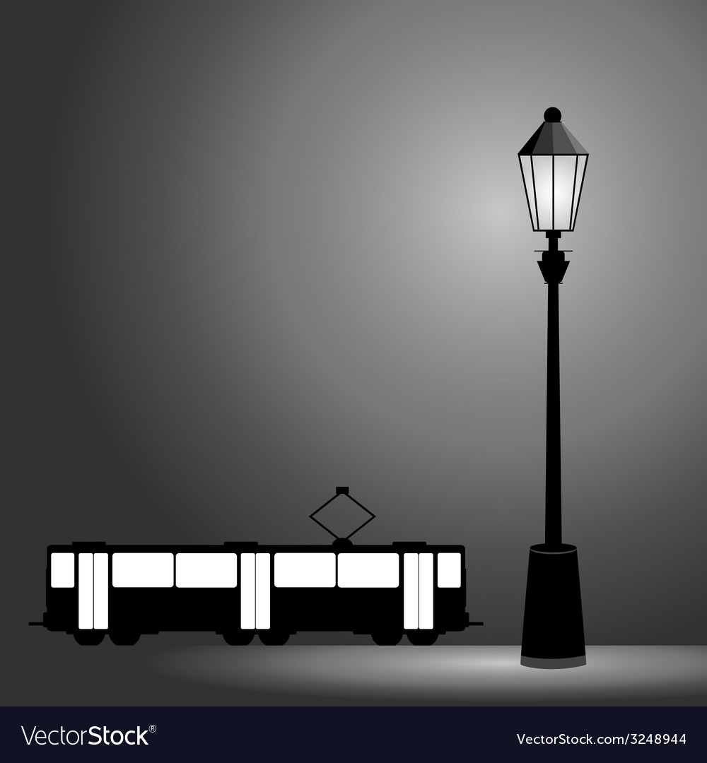Tram with street light vector | Price: 1 Credit (USD $1)