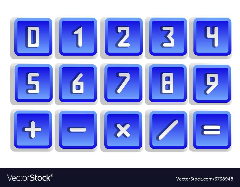 Blue numeric button set vector | Price: 1 Credit (USD $1)