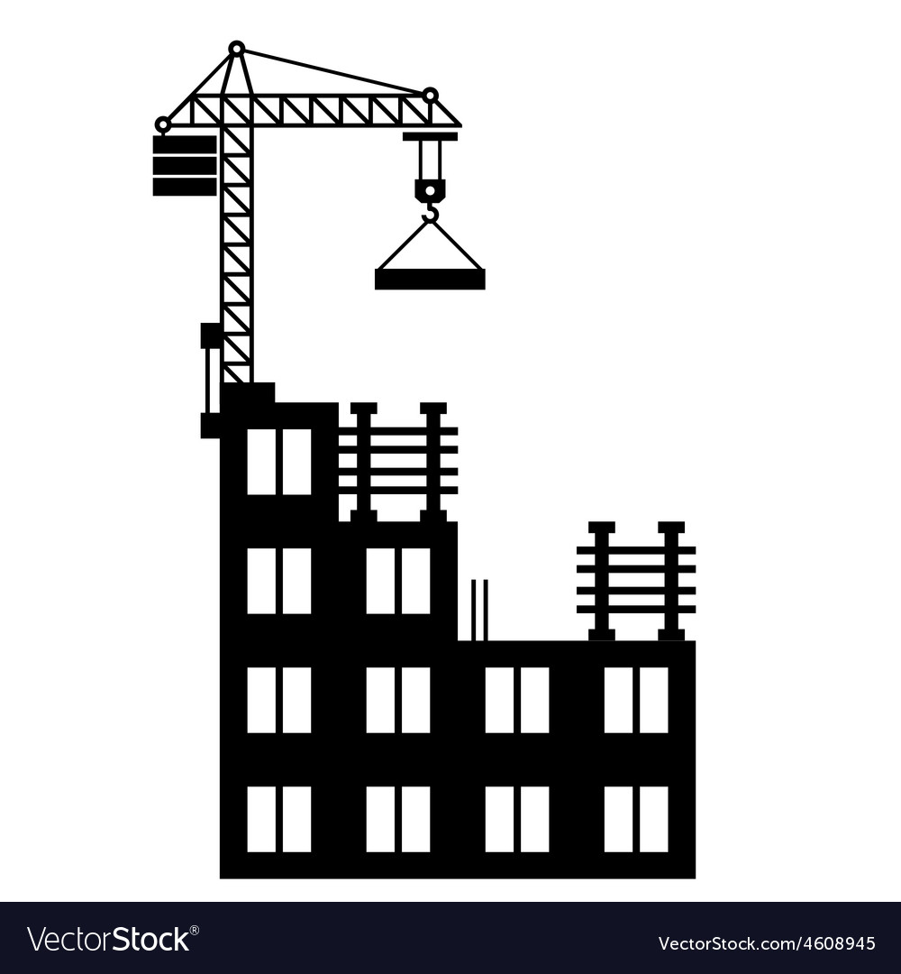 Building construction with crane on white vector | Price: 1 Credit (USD $1)