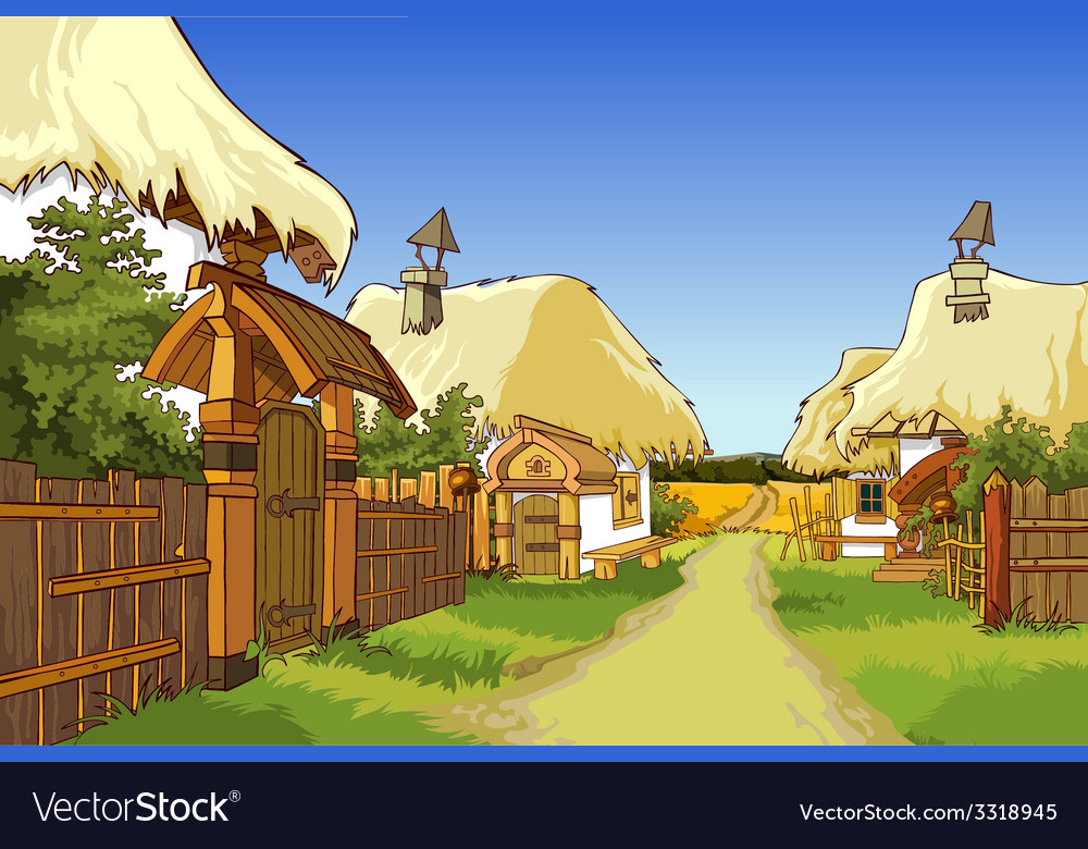 Cartoon village street with houses vector | Price: 5 Credit (USD $5)