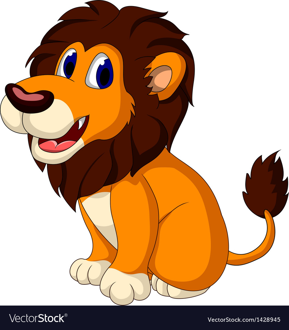 Cute lion cartoon sitting vector | Price: 1 Credit (USD $1)