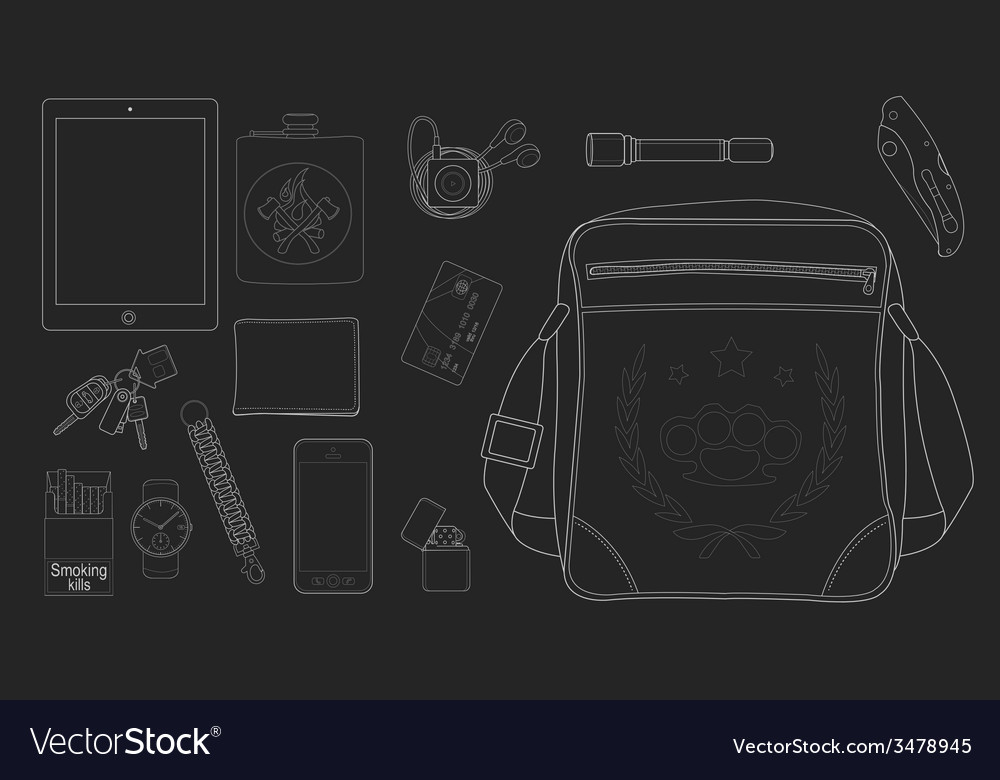 Every day carry man items set2 chalkboard vector | Price: 1 Credit (USD $1)