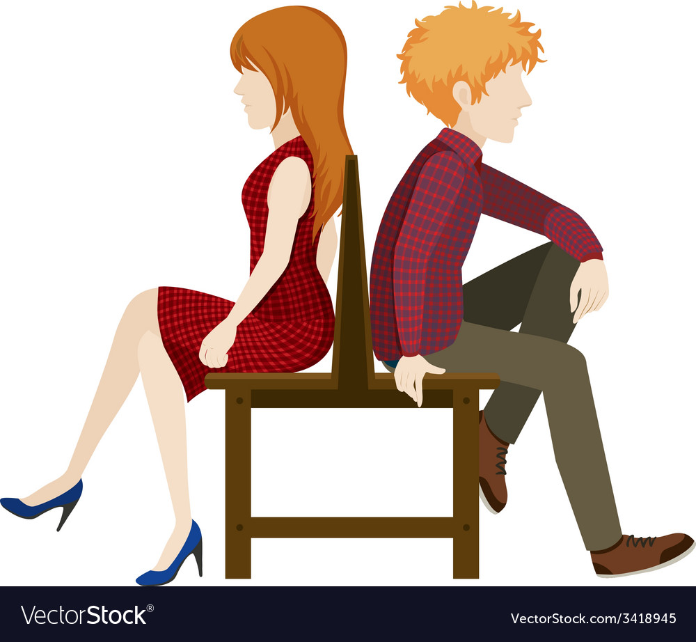 Faceless couple sitting back to back vector | Price: 1 Credit (USD $1)