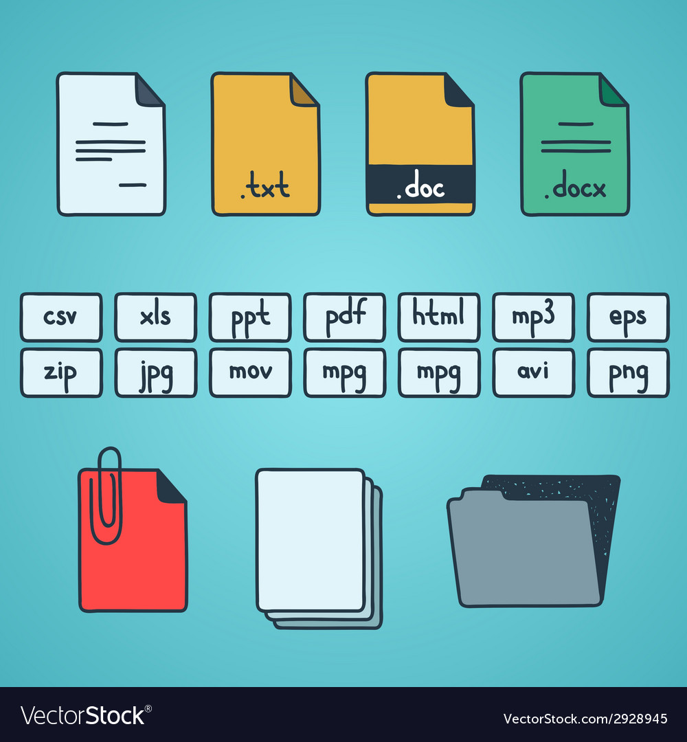 Hand draw doodle sketch set of document file vector | Price: 1 Credit (USD $1)