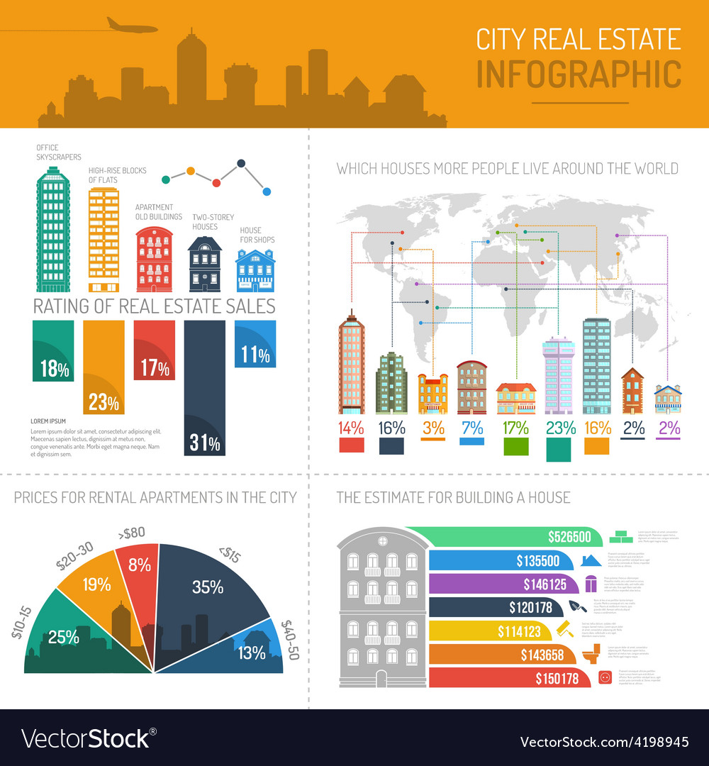 House infographics set vector | Price: 1 Credit (USD $1)