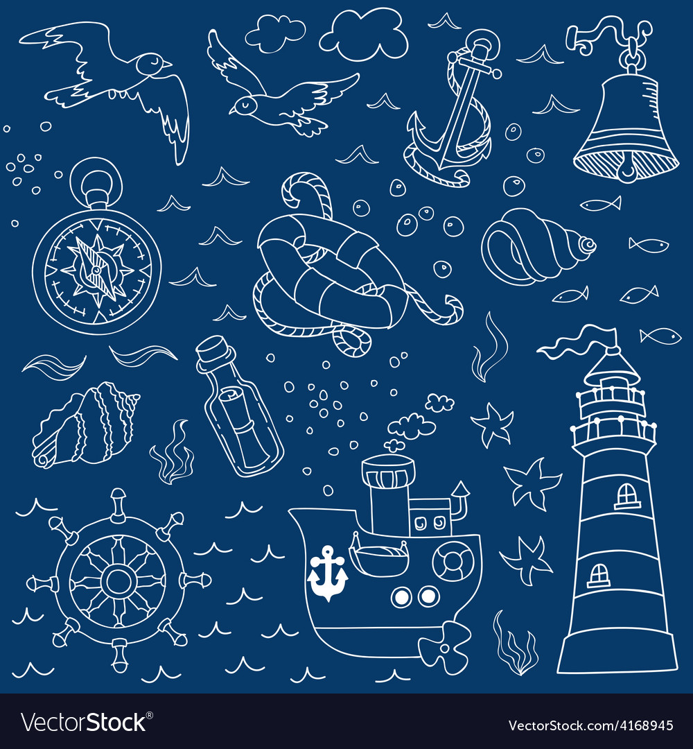 Nautical sea design elements vector | Price: 1 Credit (USD $1)