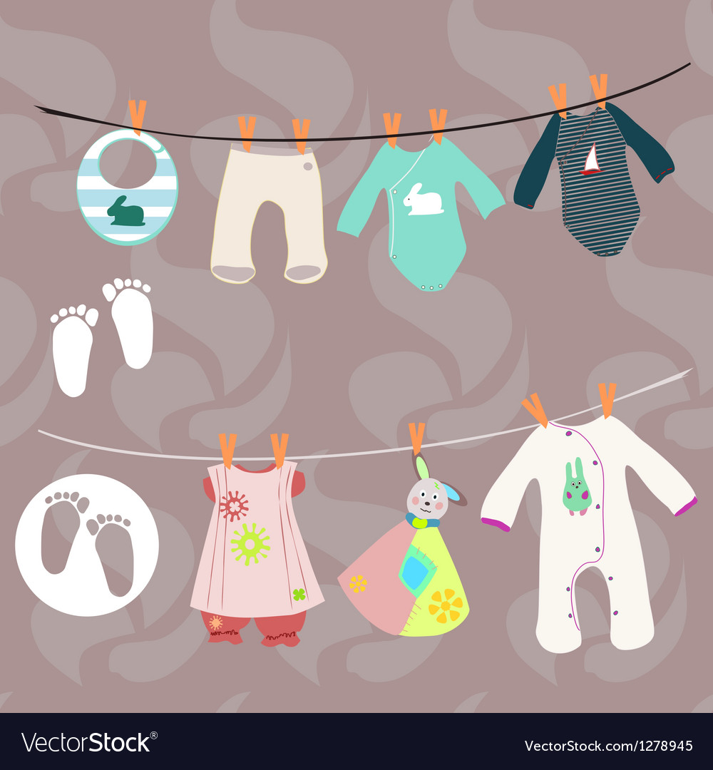 New baby boy and girl set for baby shower vector | Price: 1 Credit (USD $1)