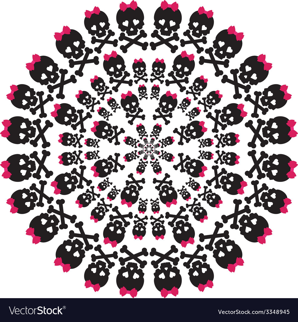 Skull with a pink bow on white background circular vector | Price: 1 Credit (USD $1)