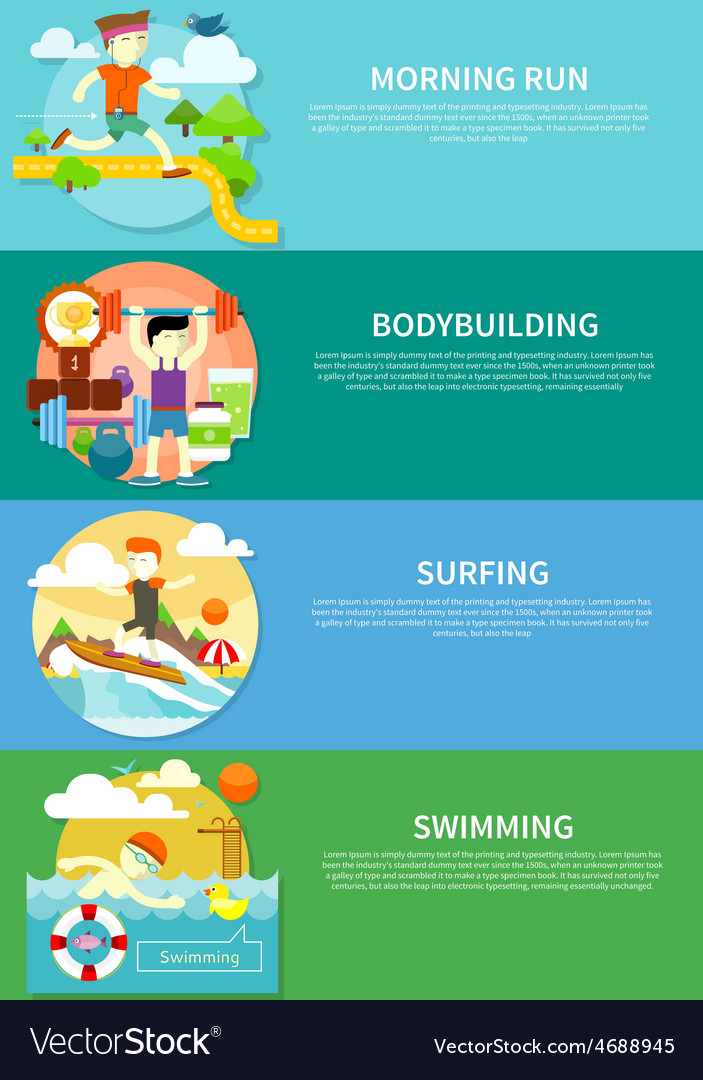 Surfing swimming run and bodybuilding vector | Price: 1 Credit (USD $1)