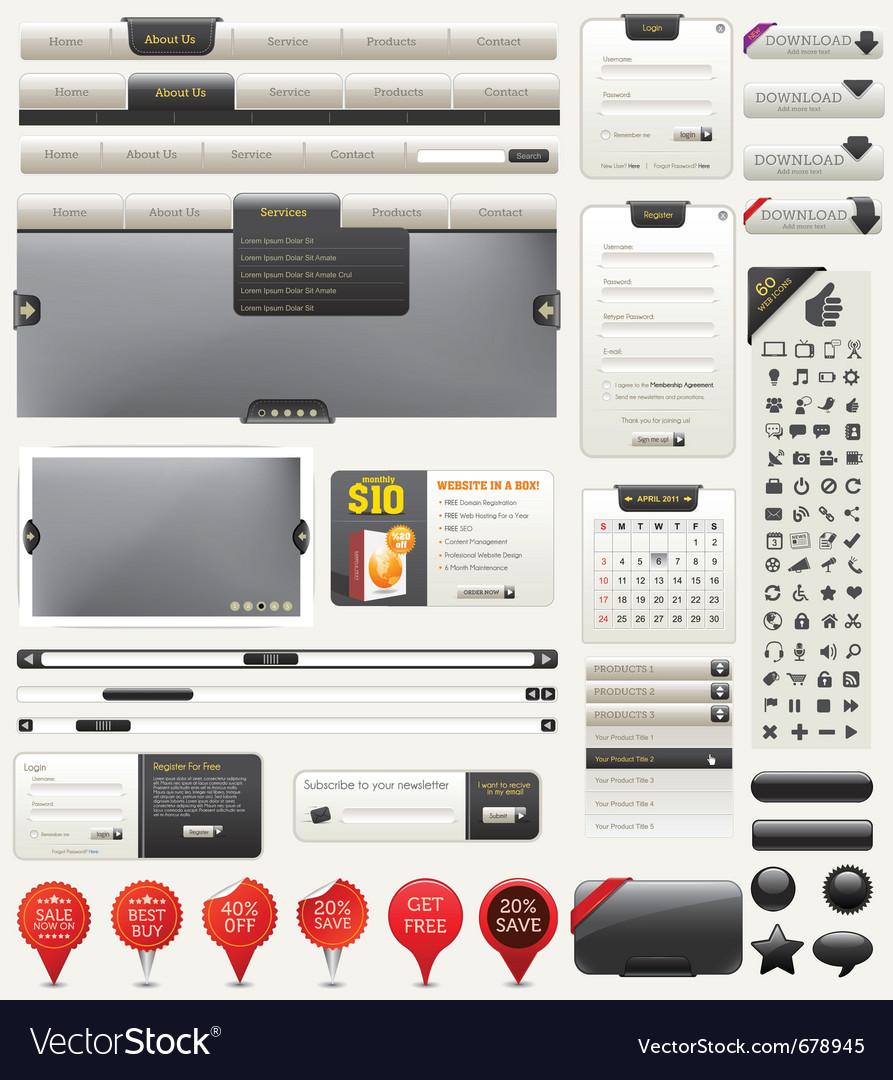 Web design kit vector | Price: 3 Credit (USD $3)