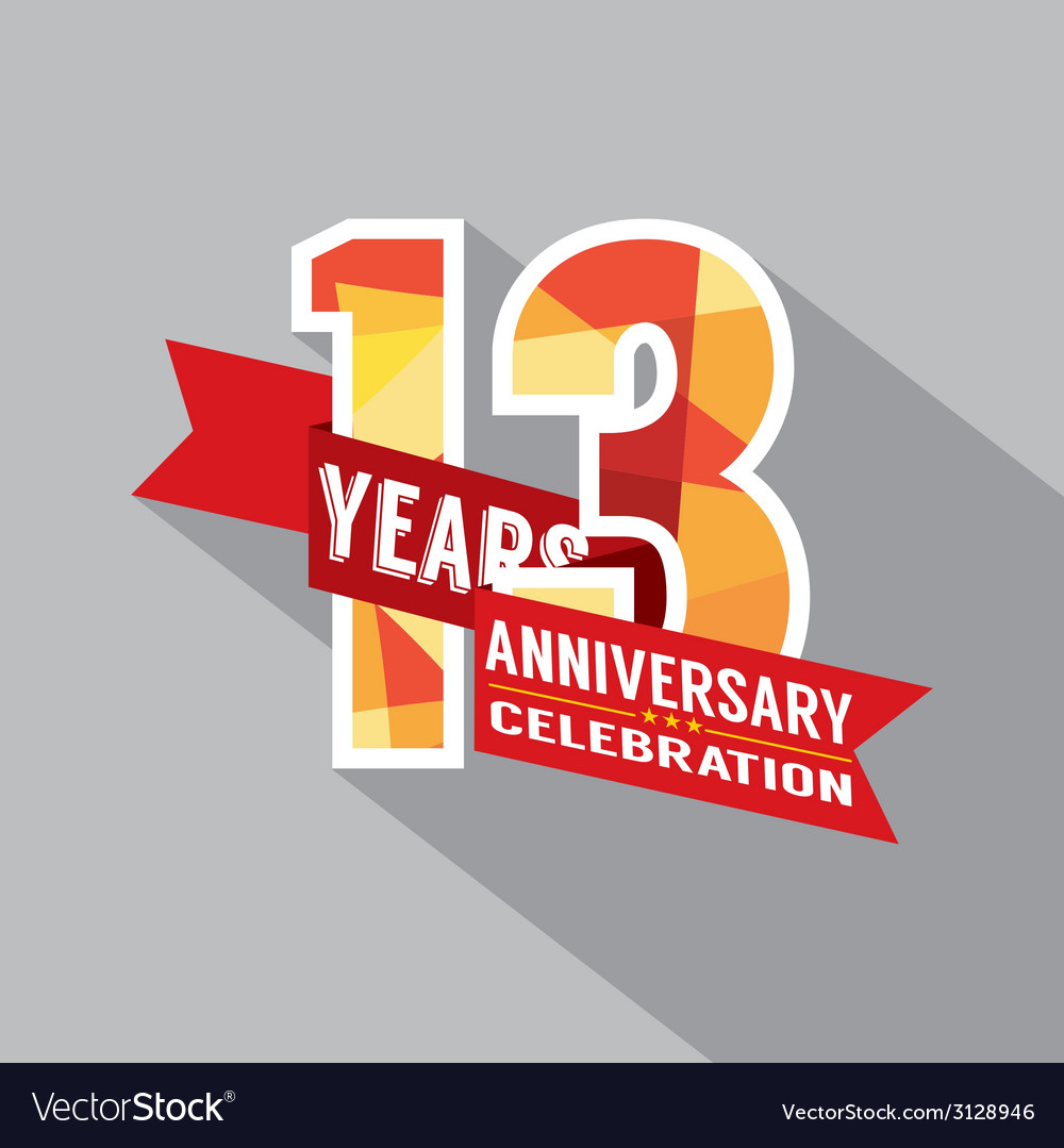 13th years anniversary celebration design vector | Price: 1 Credit (USD $1)