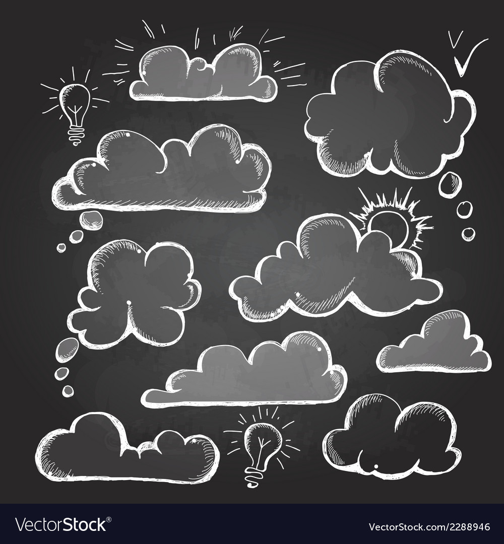 Chalk drawings set of speech bubble cloud vector | Price: 1 Credit (USD $1)