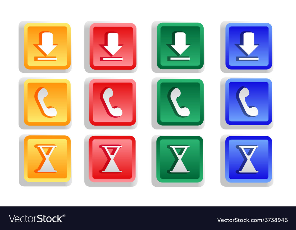Colored sign button set vector | Price: 1 Credit (USD $1)
