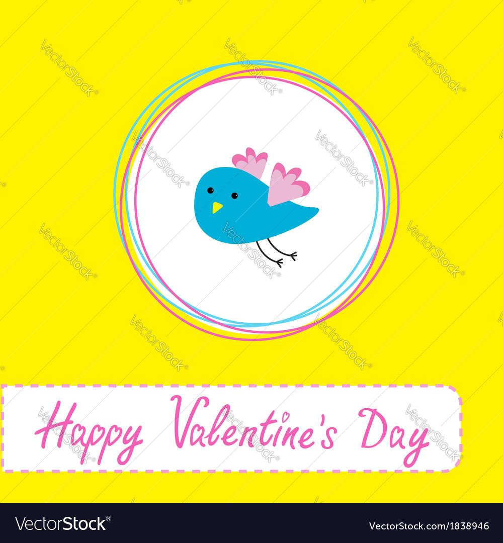 Cute blue bird happy valentines day vector | Price: 1 Credit (USD $1)