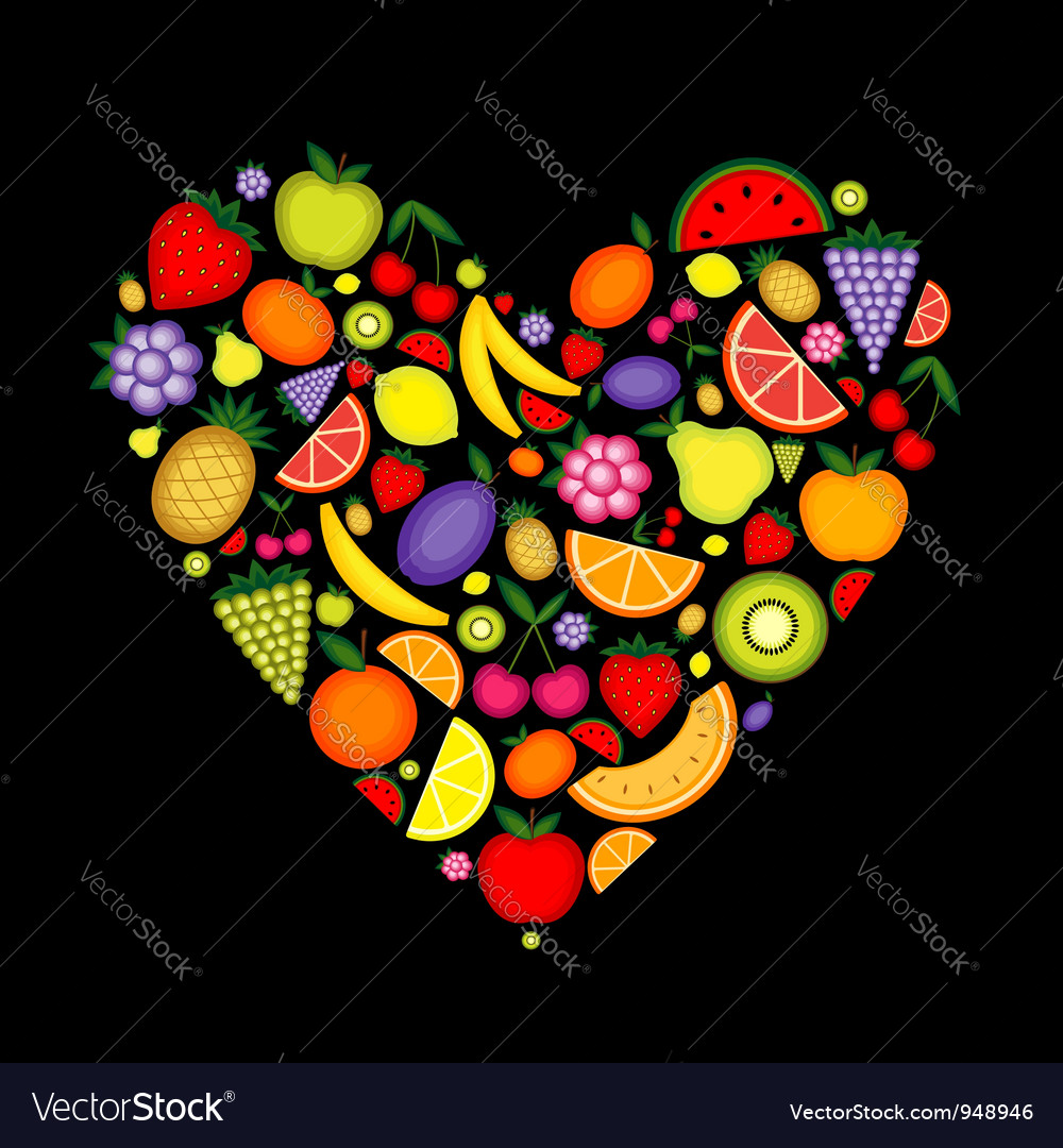 Energy fruit heart shape for your design vector | Price: 1 Credit (USD $1)
