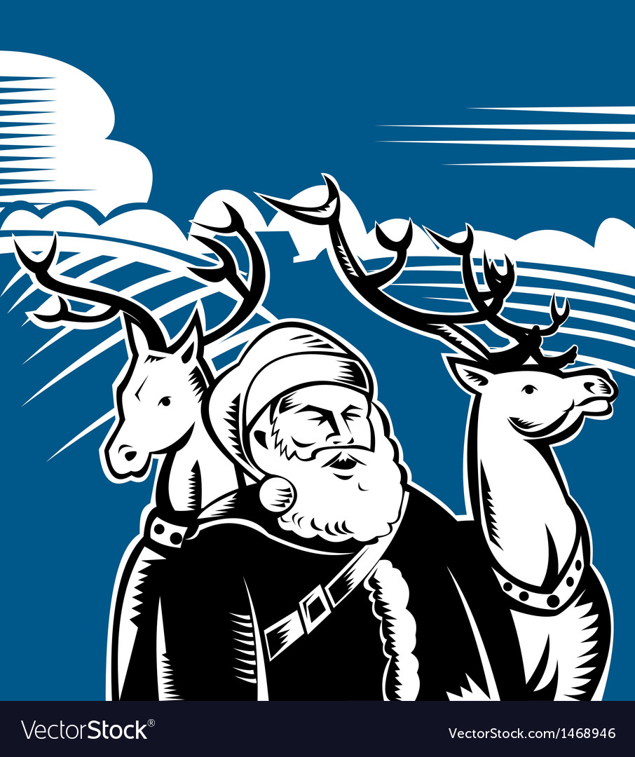 Father christmas santa claus with reindeer vector | Price: 1 Credit (USD $1)