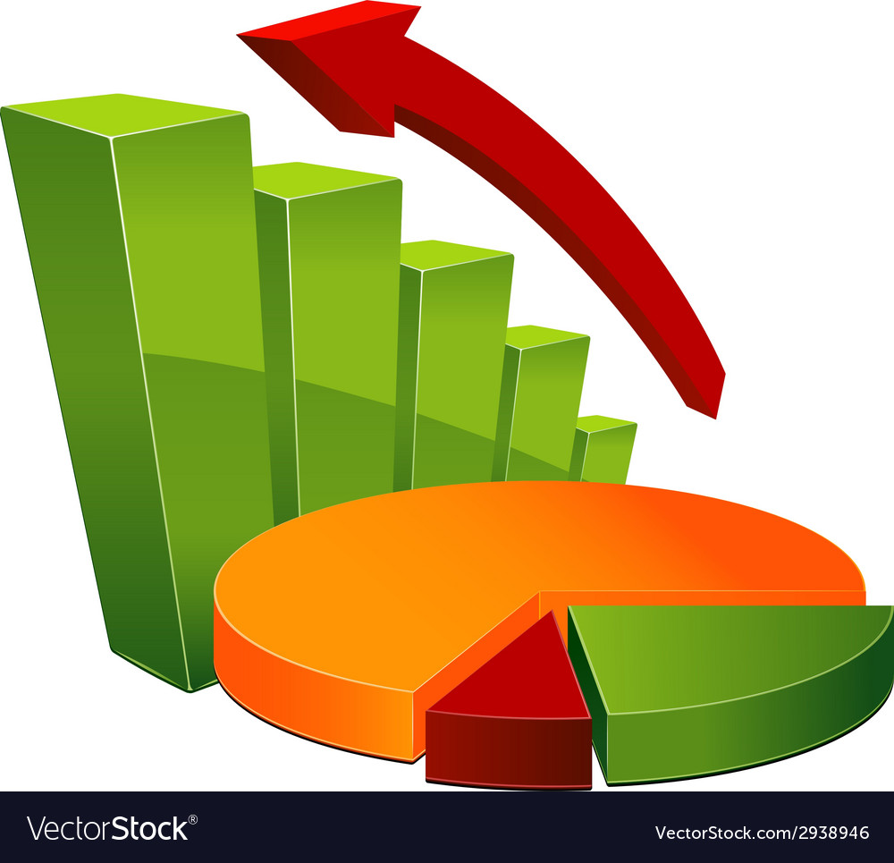 Graph and pie chart vector | Price: 1 Credit (USD $1)