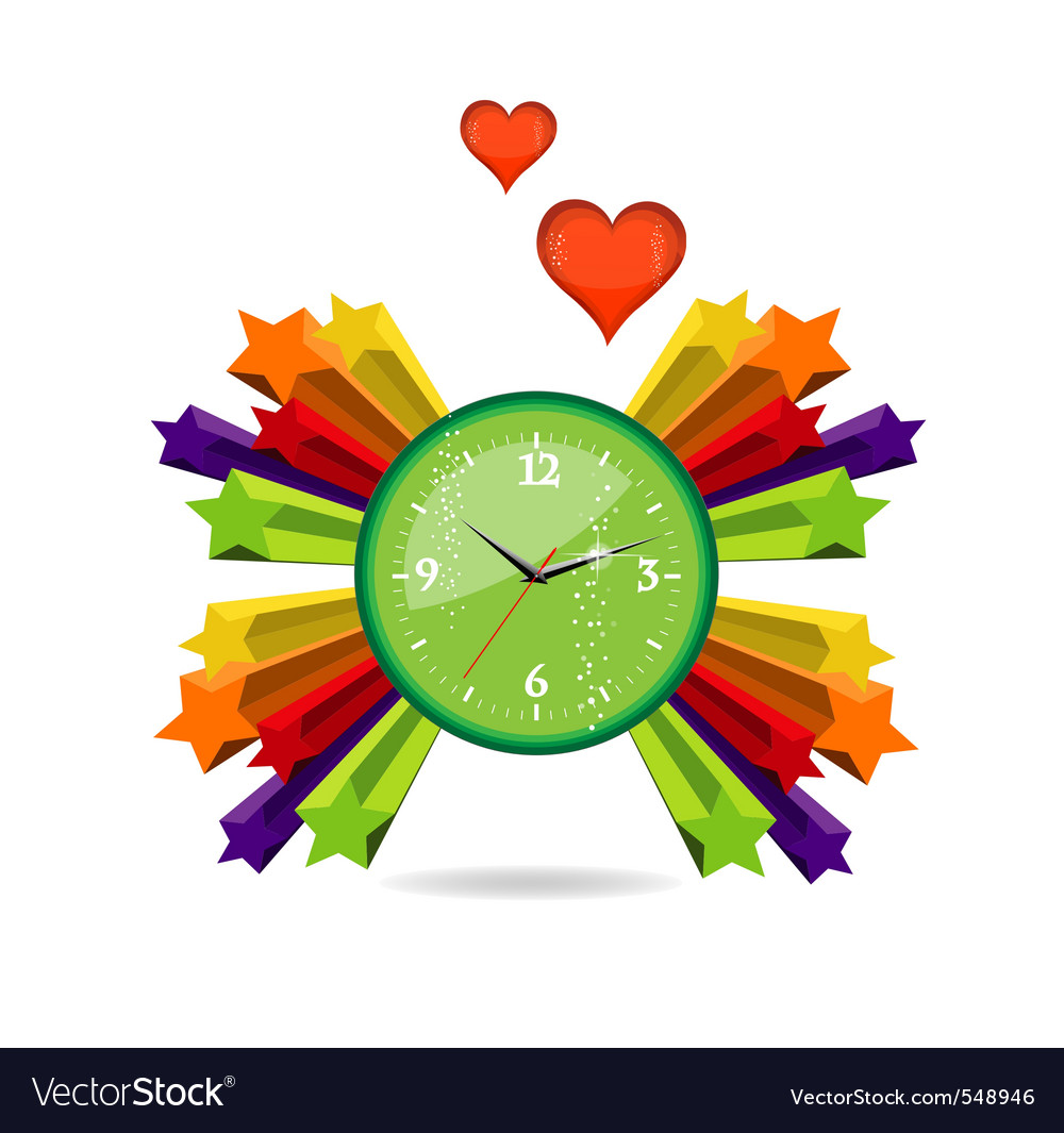 Green eco and love clock sign vector | Price: 1 Credit (USD $1)