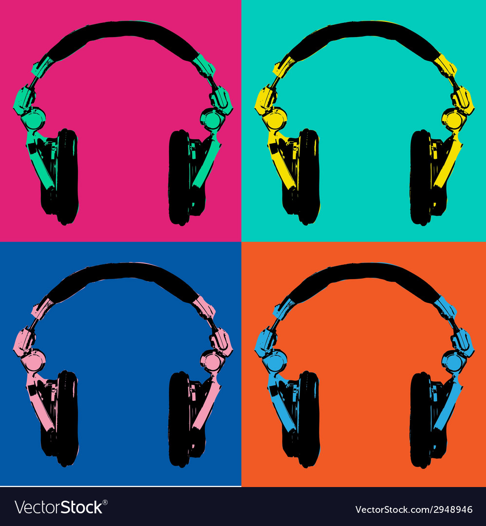 Headphones pop art 2 vector | Price: 1 Credit (USD $1)