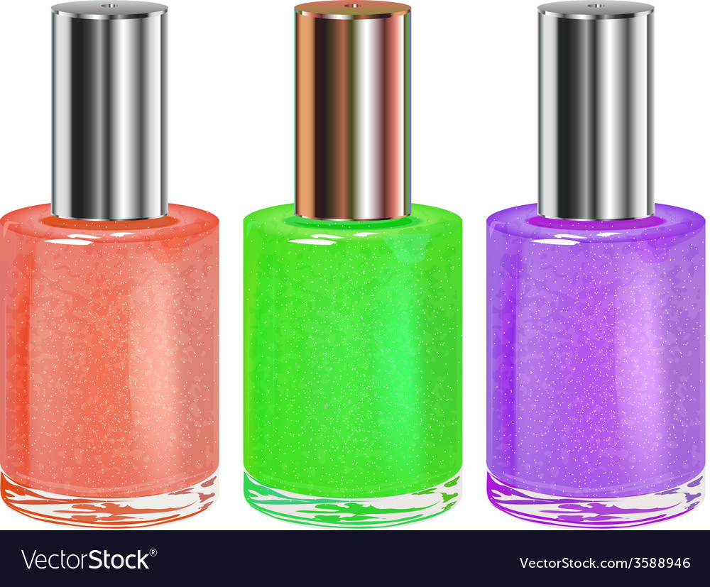 Nail polish with silver cap set vector
