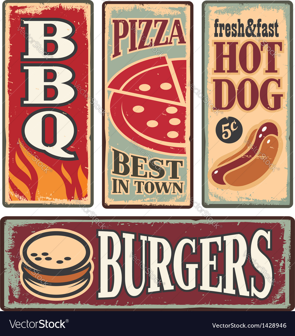 Retro fast food tin signs vector | Price: 3 Credit (USD $3)