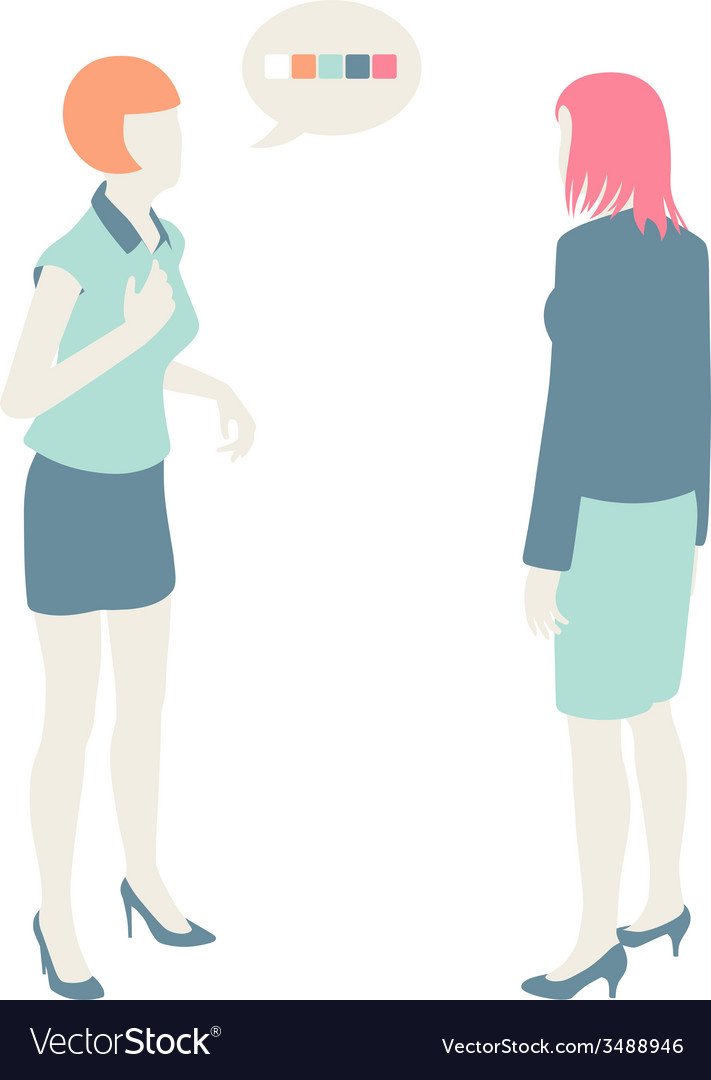 Women and men communicate flat design pastel vector | Price: 1 Credit (USD $1)