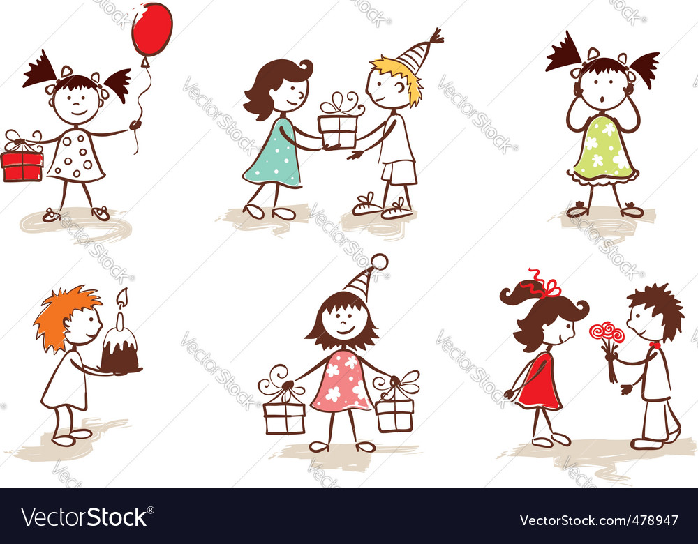 Children celebrate birthday vector | Price: 1 Credit (USD $1)