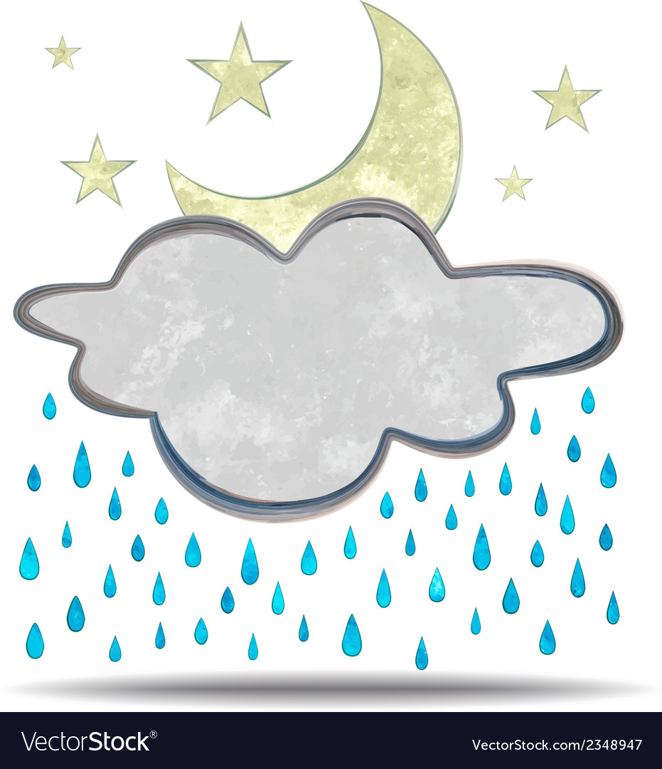 Climate cloud rain and moon vector | Price: 1 Credit (USD $1)