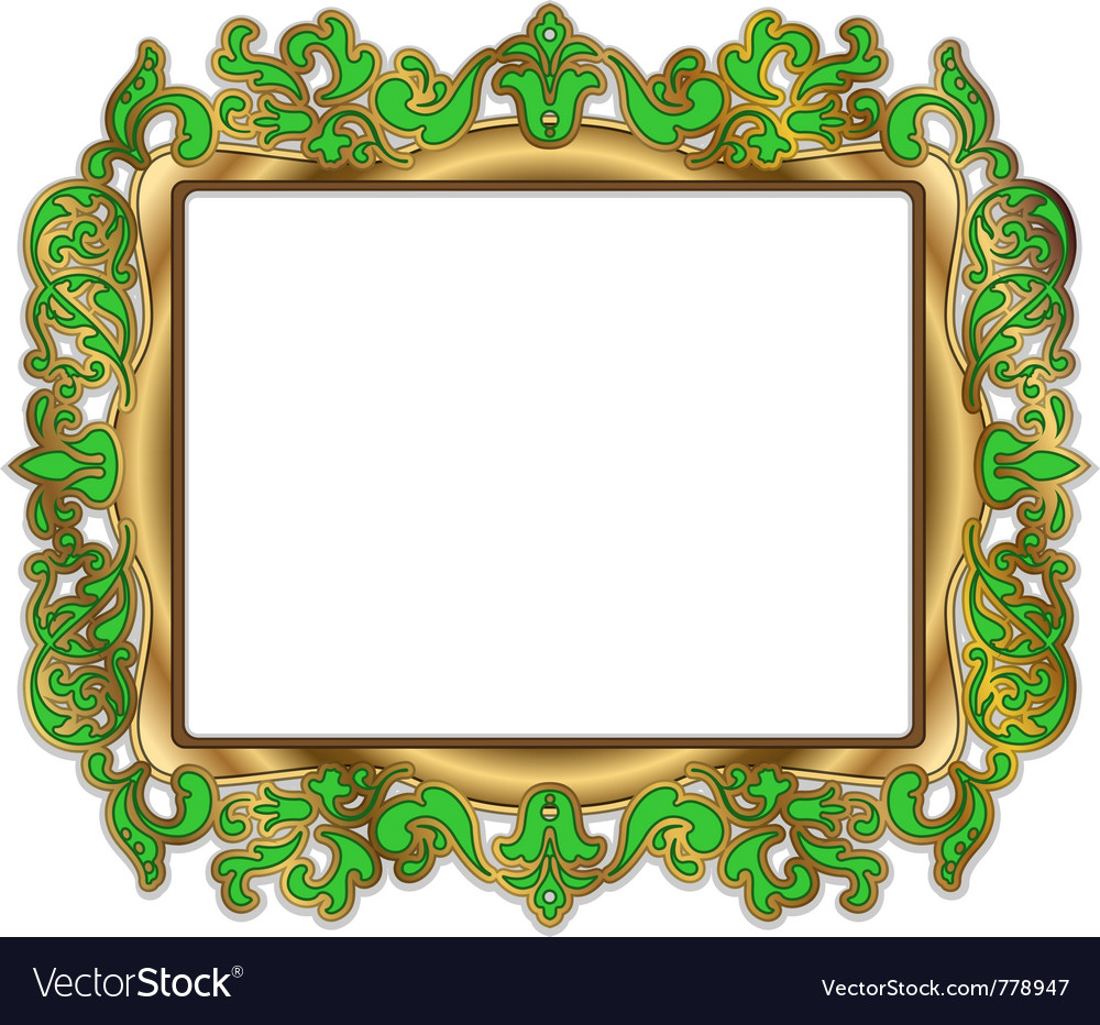 Gold green frame vector | Price: 3 Credit (USD $3)