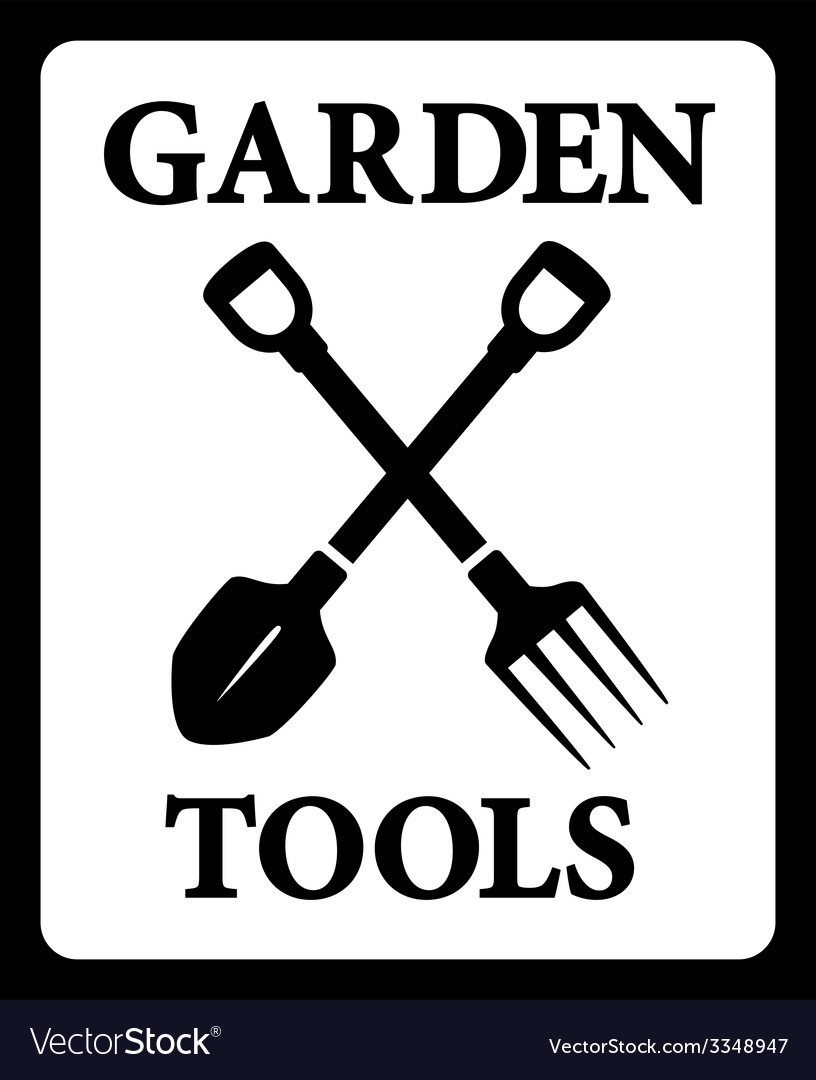 Icon with garden tools silhouette vector | Price: 1 Credit (USD $1)