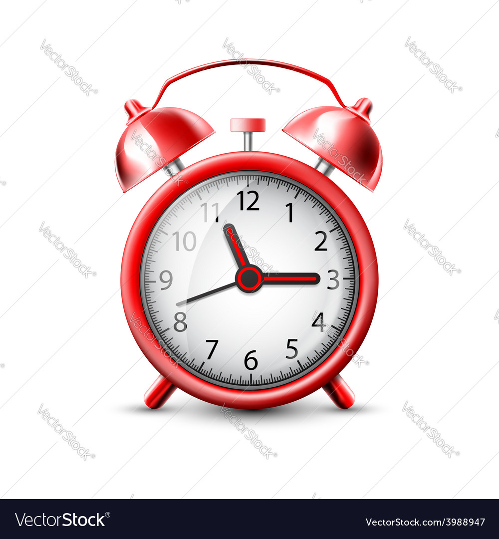 Image of a red alarm clock vector