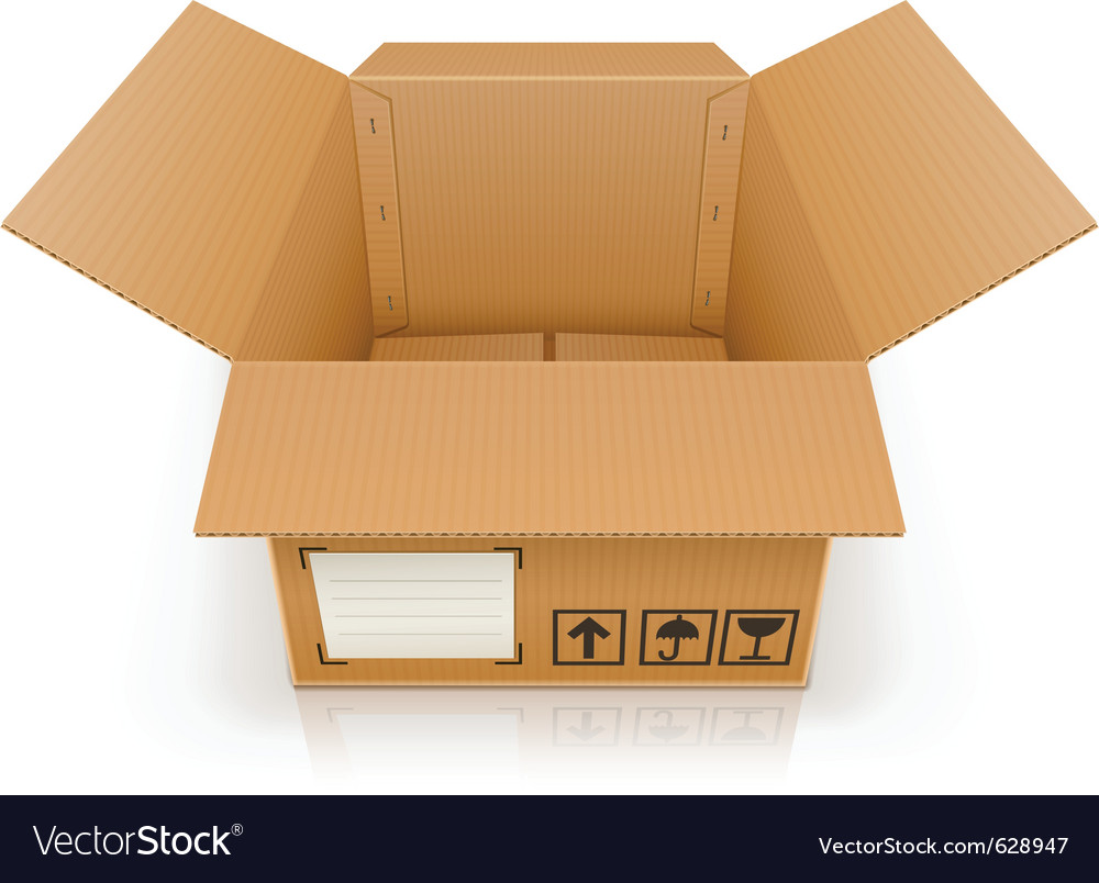 Open empty cardboard box vector | Price: 1 Credit (USD $1)