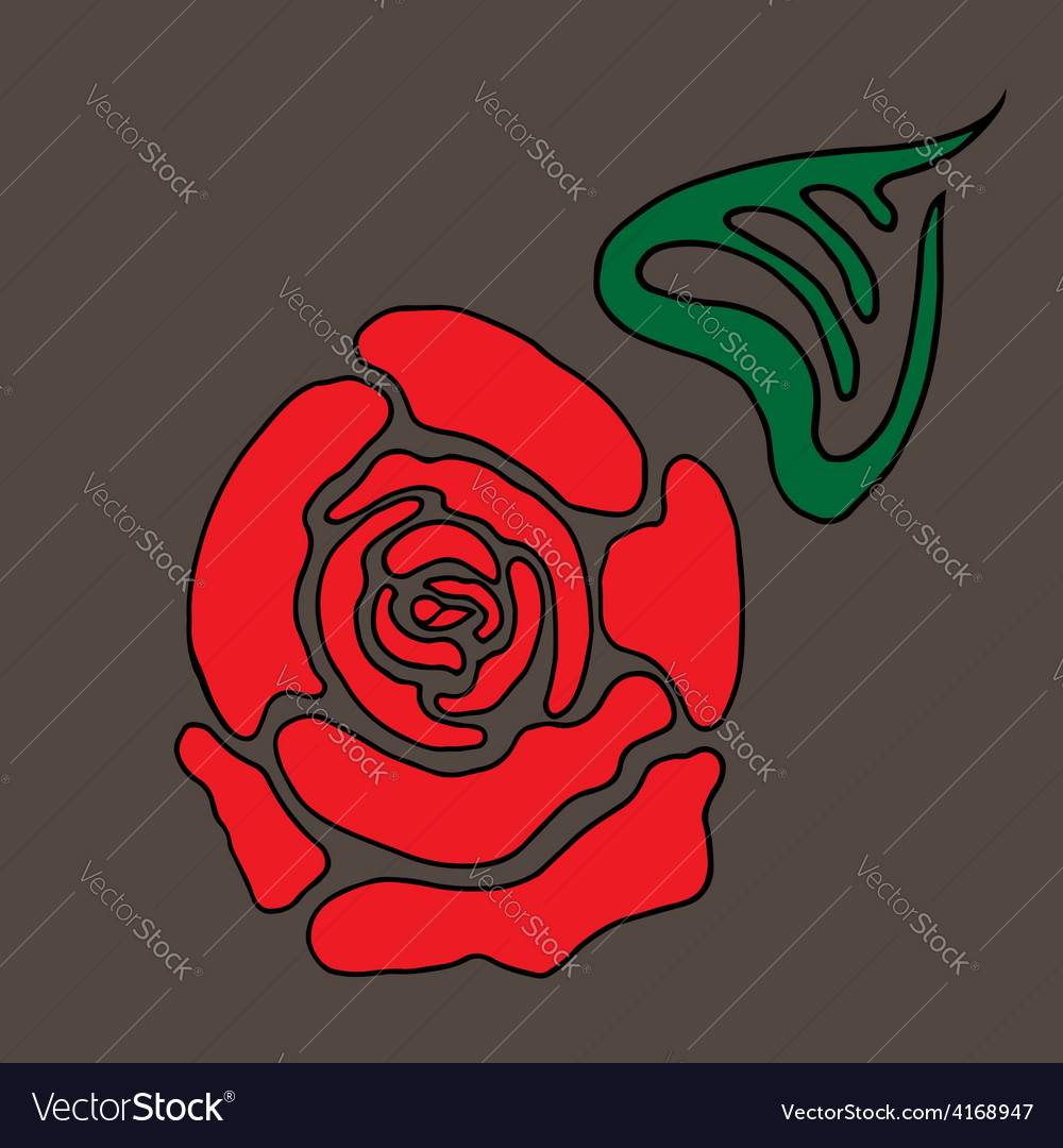 Red stylized rose with leaf vector | Price: 1 Credit (USD $1)