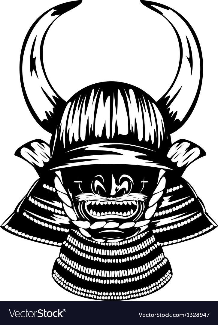Samurai helmet with horns menpo with yodare kake vector | Price: 1 Credit (USD $1)