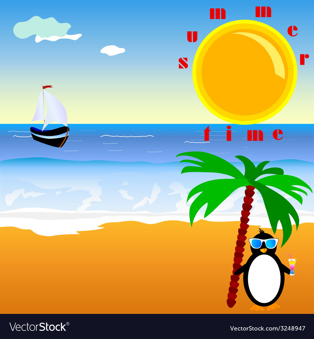 Summer time with penguin vector | Price: 1 Credit (USD $1)