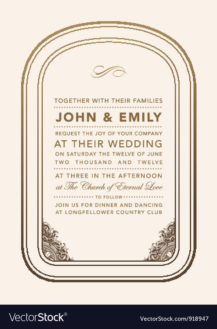 Vintage wedding invite vector | Price: 1 Credit (USD $1)