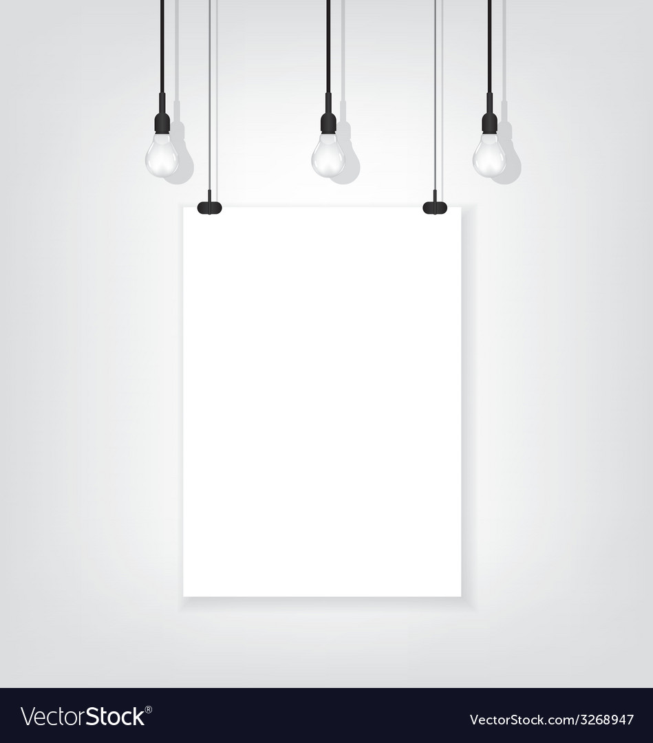 White poster on wall and bulb vector | Price: 1 Credit (USD $1)