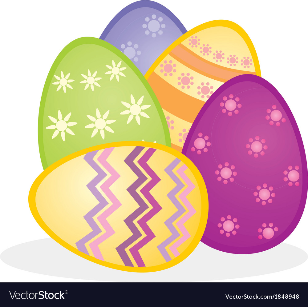 Colorful easter eggs icon composition isolated vector | Price: 1 Credit (USD $1)