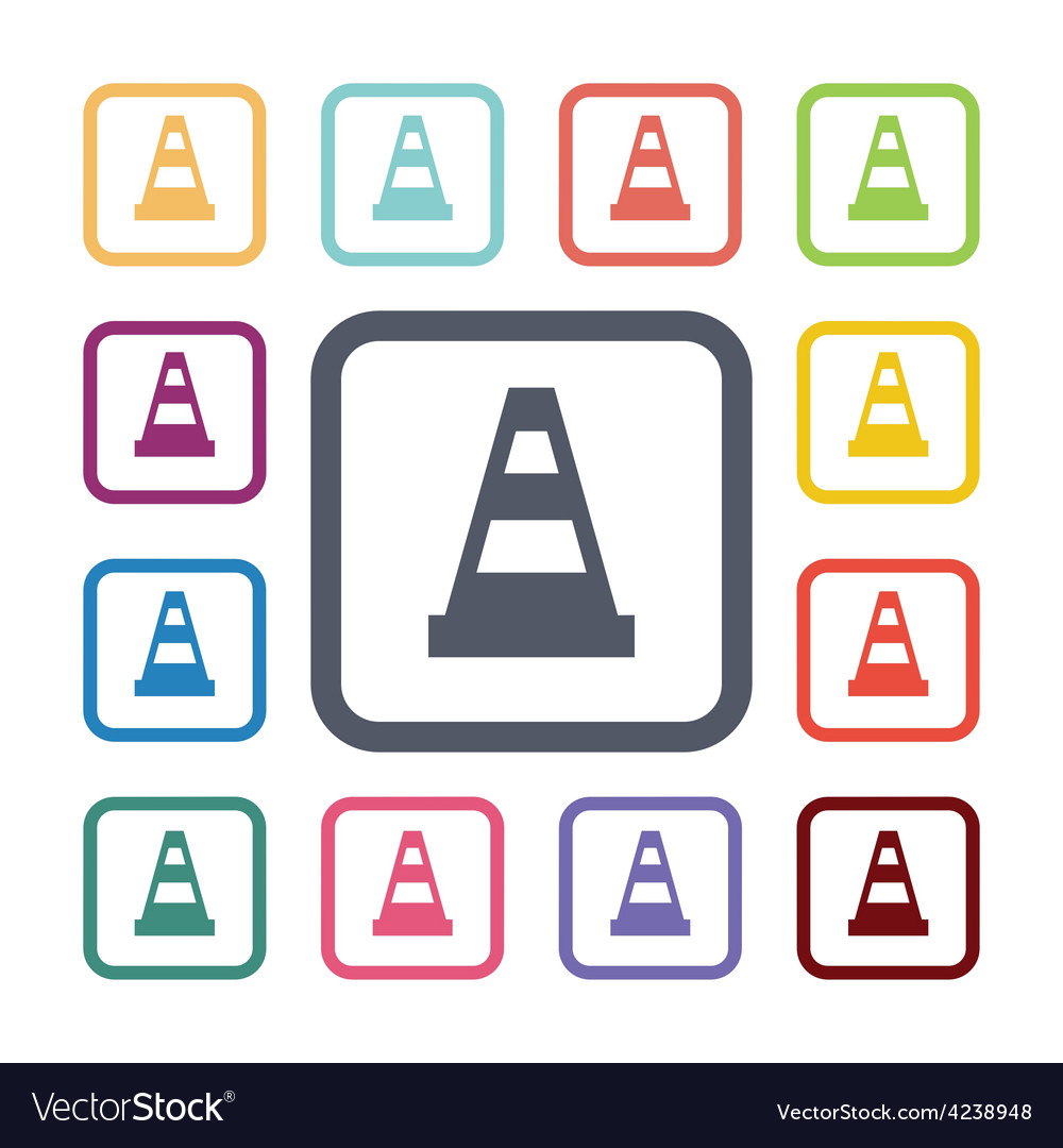 Cone flat icons set vector   Price: 1 Credit (USD $1)