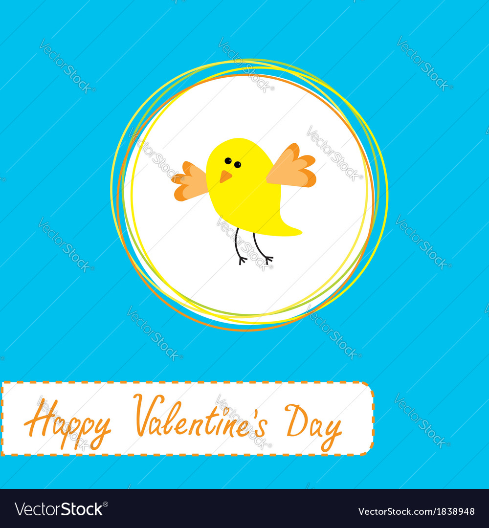 Cute yellow bird happy valentines day vector | Price: 1 Credit (USD $1)