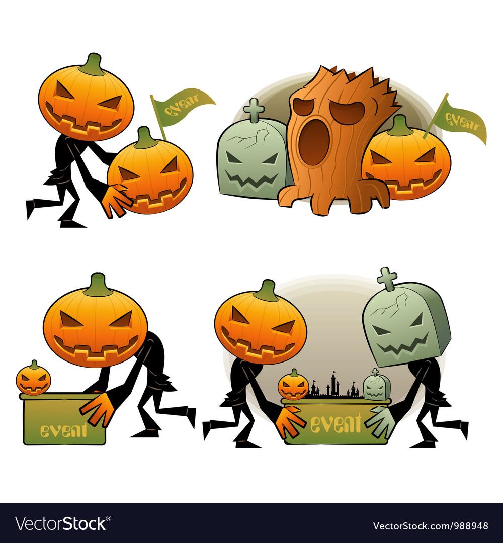 Halloween day pumpkin dreary vector | Price: 3 Credit (USD $3)