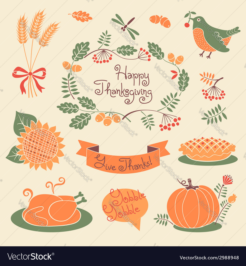 Happy thanksgiving set of elements for design vector | Price: 1 Credit (USD $1)