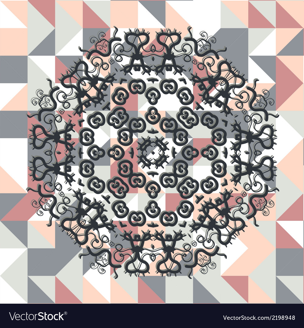 Mandala over square triangles background vector | Price: 1 Credit (USD $1)
