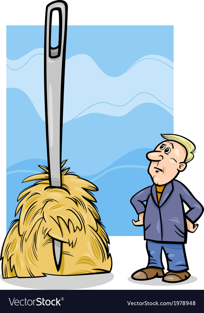 Needle in a haystack saying cartoon vector | Price: 1 Credit (USD $1)