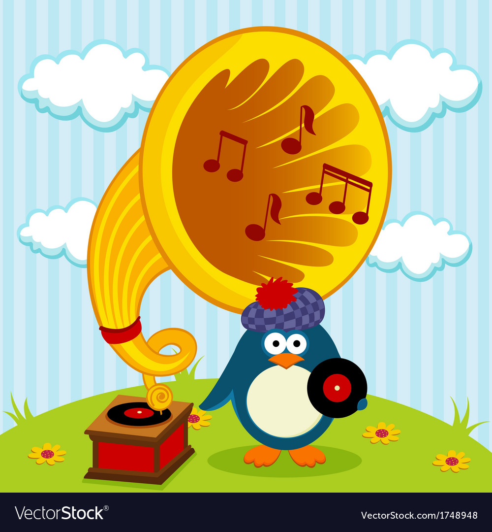 Penguin with a gramophone vector | Price: 1 Credit (USD $1)