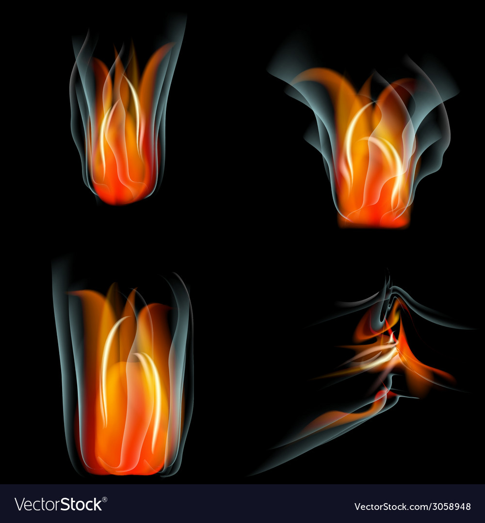 Set of flames different shapes on a black vector | Price: 1 Credit (USD $1)