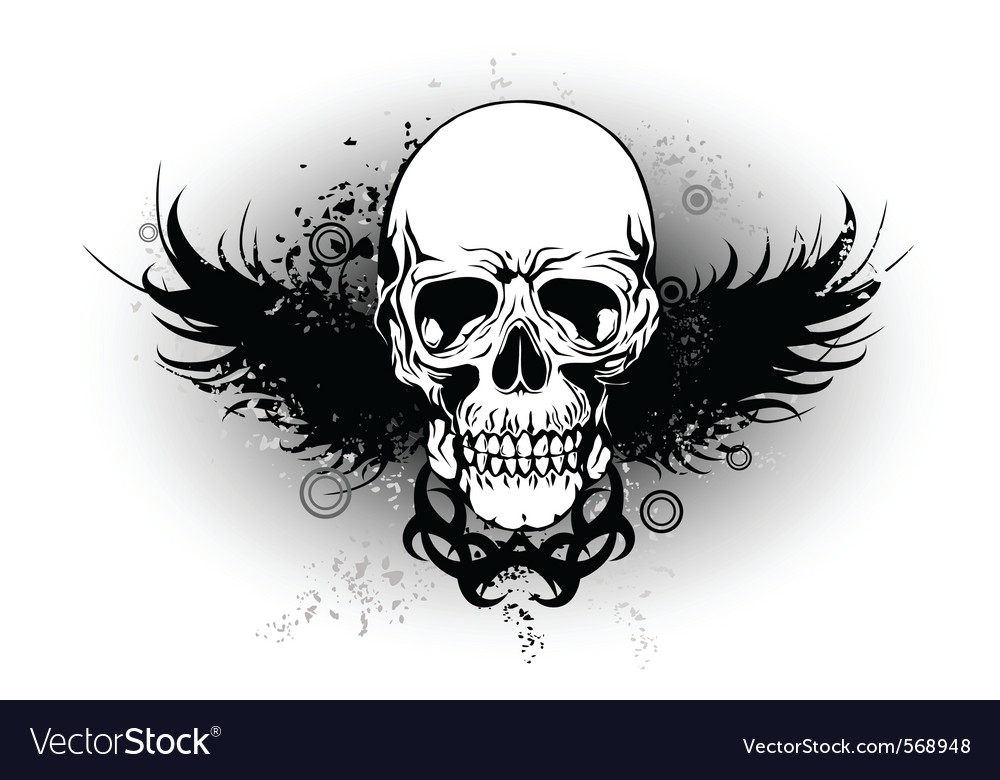 Skull with wing vector | Price: 1 Credit (USD $1)